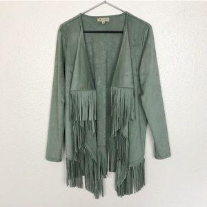 Sweaters - Fringe Waterfall Faux Suede Jacket Festival Kimono